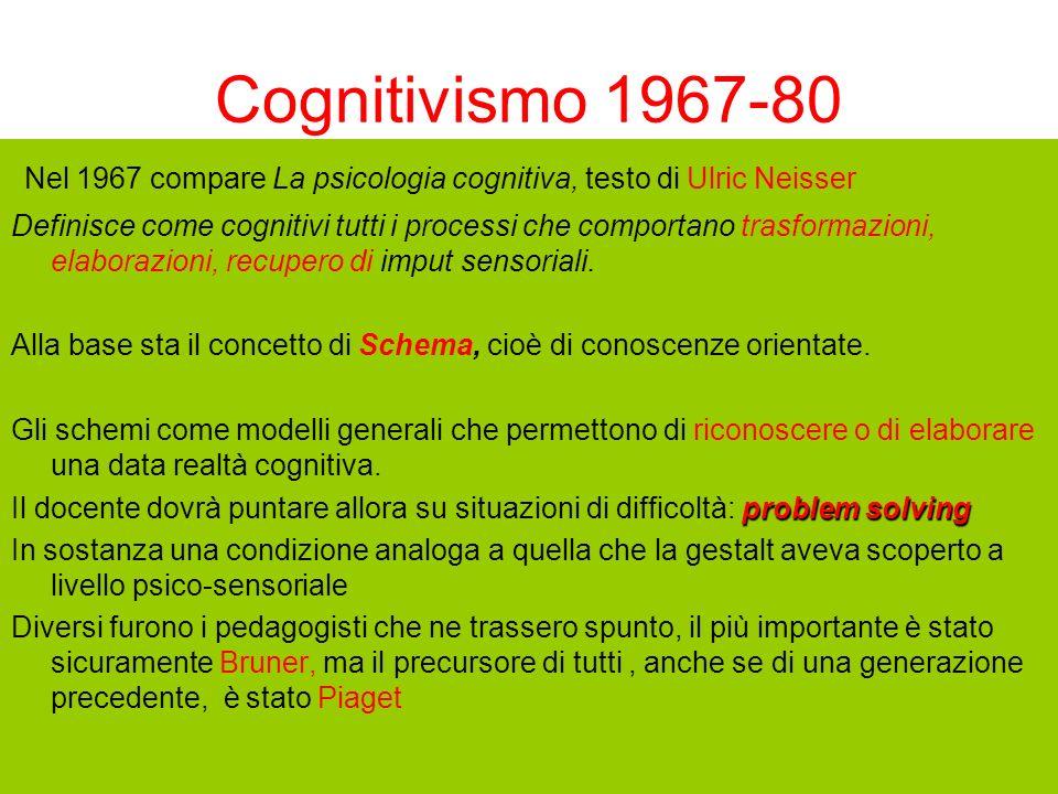 Cognitivismo 1967-80 Nel 1967 compare La psicologia cognitiva, testo di Ulric Neisser Definisce come cognitivi tutti i processi che comportano trasfor