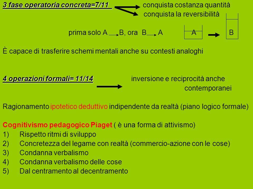 3 fase operatoria concreta=7/11 3 fase operatoria concreta=7/11 conquista costanza quantità conquista la reversibilità prima solo A B, ora B A A B È c