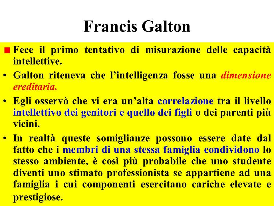 Francis Galton Fece il primo tentativo di misurazione delle capacità intellettive. Galton riteneva che lintelligenza fosse una dimensione ereditaria.
