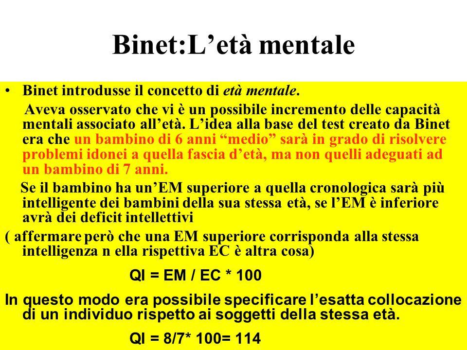Binet:Letà mentale Binet introdusse il concetto di età mentale. Aveva osservato che vi è un possibile incremento delle capacità mentali associato alle