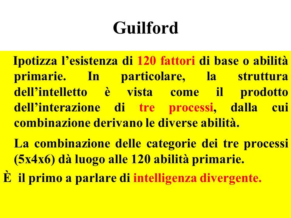 Guilford Ipotizza lesistenza di 120 fattori di base o abilità primarie. In particolare, la struttura dellintelletto è vista come il prodotto dellinter