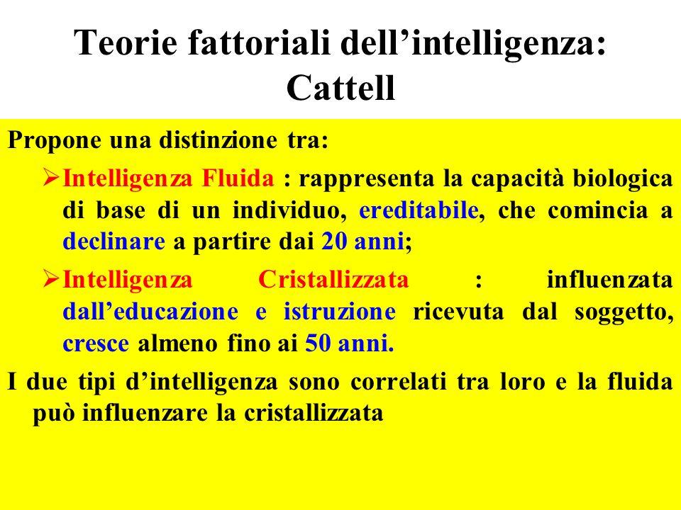 Teorie fattoriali dellintelligenza: Cattell Propone una distinzione tra: Intelligenza Fluida : rappresenta la capacità biologica di base di un individ