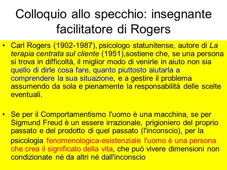 Carl Rogers (1902-1987), psicologo statunitense, autore di La terapia centrata sul cliente (1951),sostiene che, se una persona si trova in difficoltà,