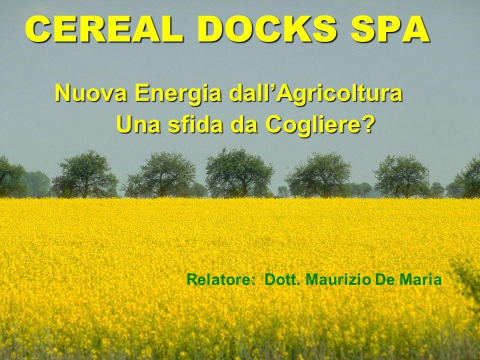 CEREAL DOCKS SPA Nuova Energia dallAgricoltura Una sfida da Cogliere? Relatore: Dott. Maurizio De Maria