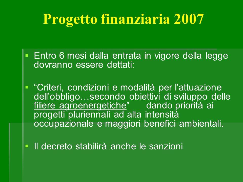Progetto finanziaria 2007 Entro 6 mesi dalla entrata in vigore della legge dovranno essere dettati: Criteri, condizioni e modalità per lattuazione del
