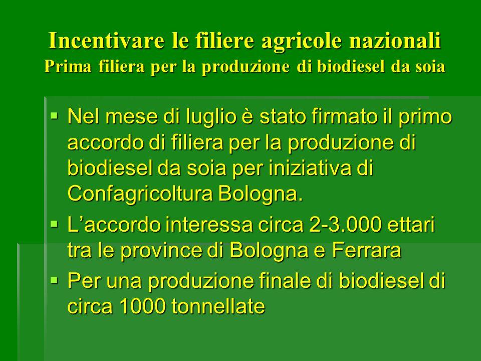 Incentivare le filiere agricole nazionali Prima filiera per la produzione di biodiesel da soia Nel mese di luglio è stato firmato il primo accordo di