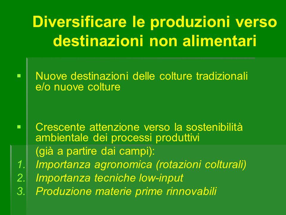 Nuove destinazioni delle colture tradizionali e/o nuove colture Crescente attenzione verso la sostenibilità ambientale dei processi produttivi (già a