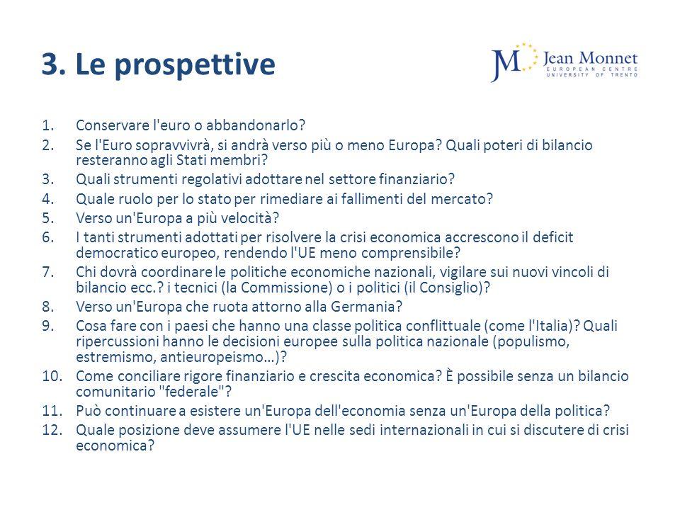 3. Le prospettive 1.Conservare l euro o abbandonarlo.