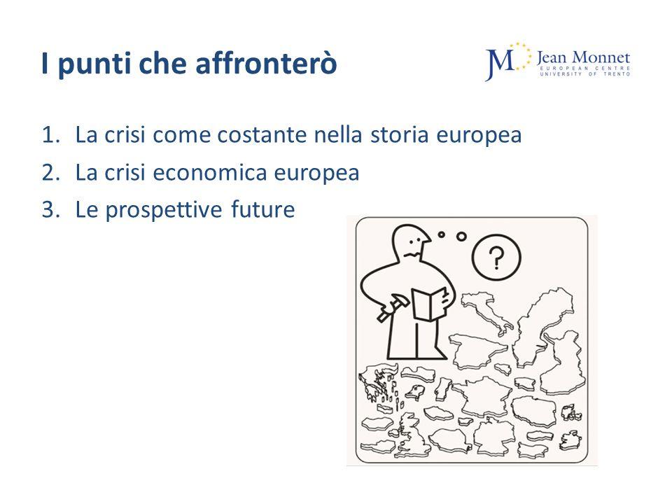 I punti che affronterò 1.La crisi come costante nella storia europea 2.La crisi economica europea 3.Le prospettive future