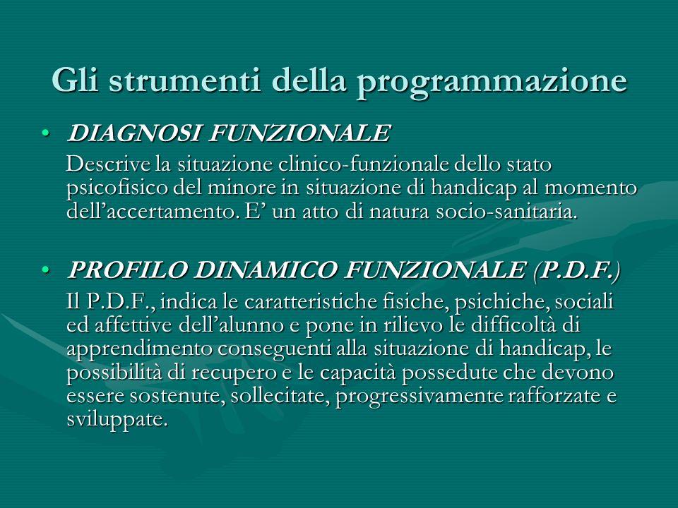 Gli strumenti della programmazione DIAGNOSI FUNZIONALEDIAGNOSI FUNZIONALE Descrive la situazione clinico-funzionale dello stato psicofisico del minore