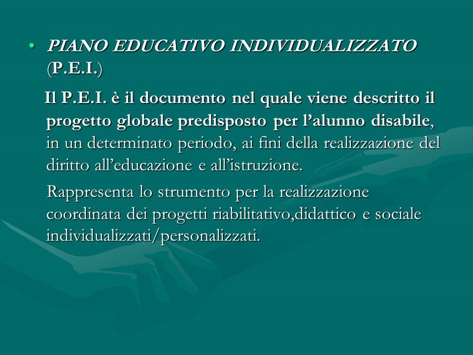 PIANO EDUCATIVO INDIVIDUALIZZATO (P.E.I.)PIANO EDUCATIVO INDIVIDUALIZZATO (P.E.I.) Il P.E.I. è il documento nel quale viene descritto il progetto glob
