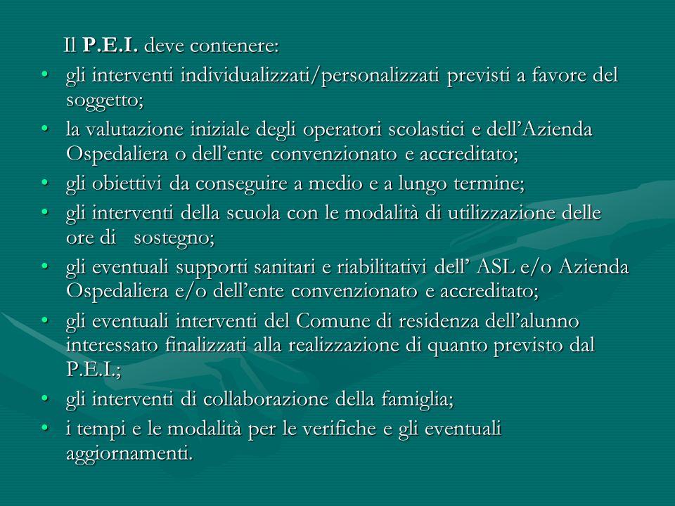 Il P.E.I. deve contenere: Il P.E.I. deve contenere: gli interventi individualizzati/personalizzati previsti a favore del soggetto;gli interventi indiv