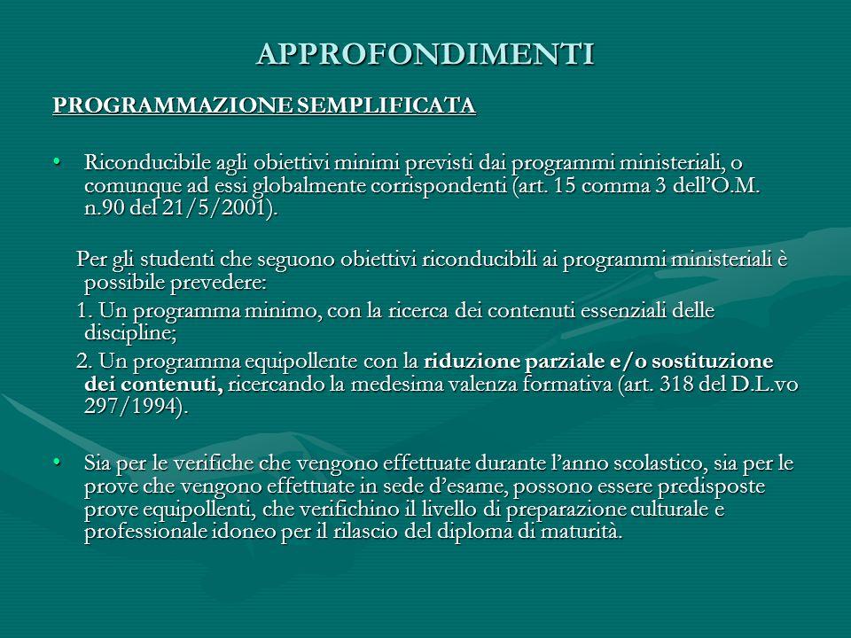 APPROFONDIMENTI PROGRAMMAZIONE SEMPLIFICATA Riconducibile agli obiettivi minimi previsti dai programmi ministeriali, o comunque ad essi globalmente co