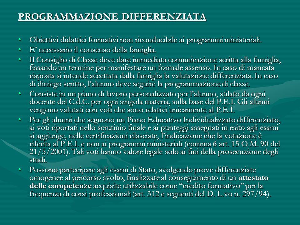 PROGRAMMAZIONE DIFFERENZIATA Obiettivi didattici formativi non riconducibile ai programmi ministeriali.Obiettivi didattici formativi non riconducibile