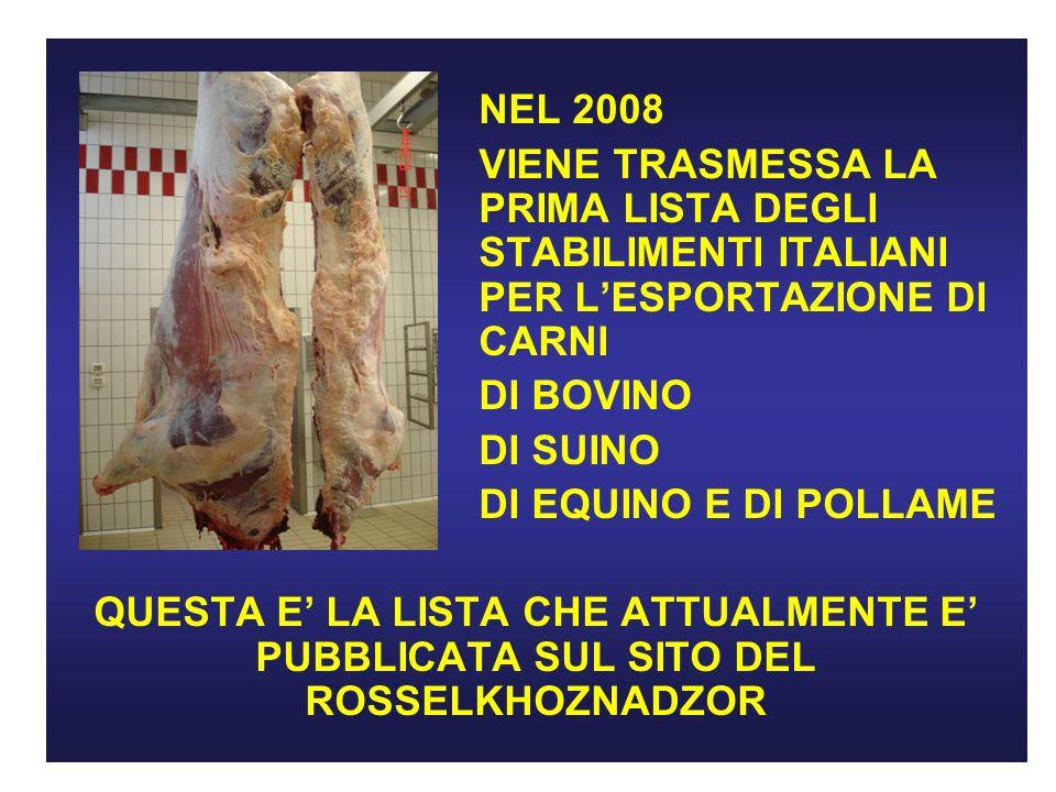 NEL 2008 VIENE TRASMESSA LA PRIMA LISTA DEGLI STABILIMENTI ITALIANI PER LESPORTAZIONE DI CARNI DI BOVINO DI SUINO DI EQUINO E DI POLLAME QUESTA E LA LISTA CHE ATTUALMENTE E PUBBLICATA SUL SITO DEL ROSSELKHOZNADZOR