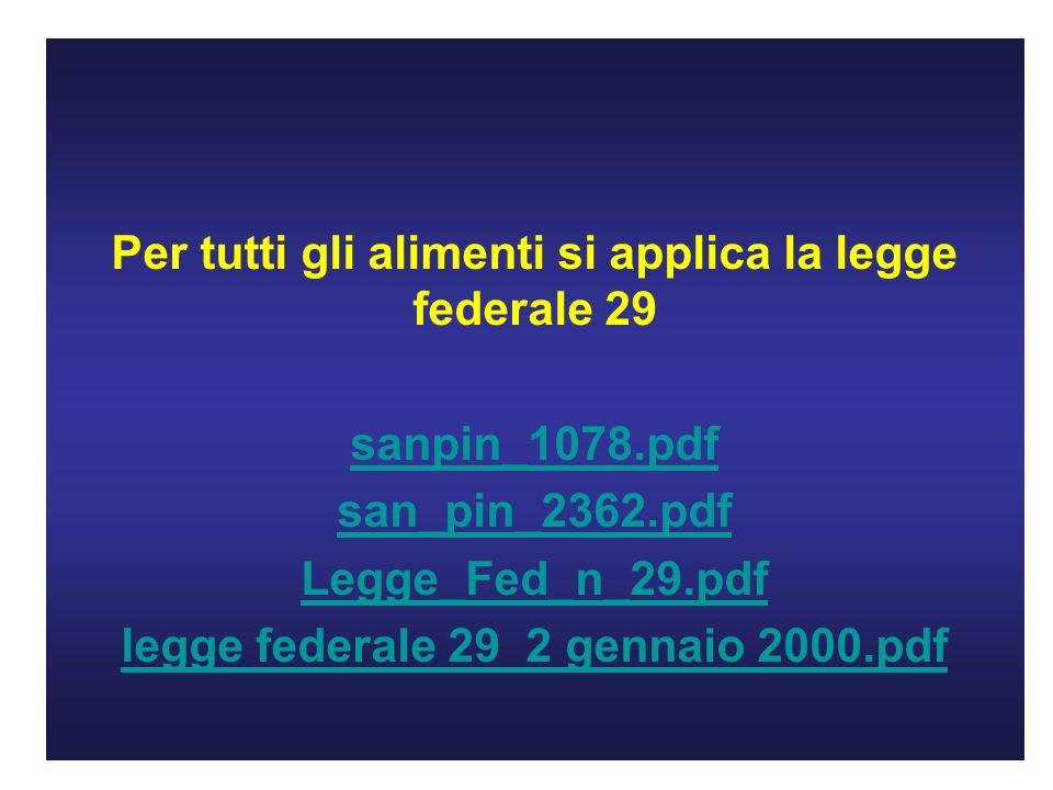 Per tutti gli alimenti si applica la legge federale 29 sanpin_1078.pdf san_pin_2362.pdf Legge_Fed_n_29.pdf legge federale 29 2 gennaio 2000.pdf