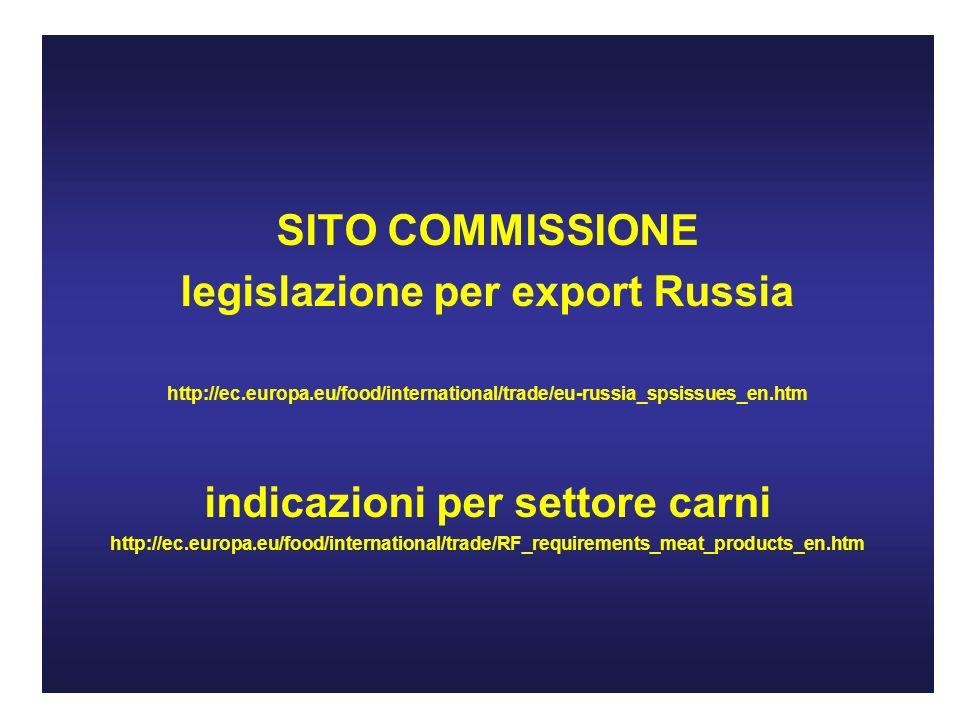 SITO COMMISSIONE legislazione per export Russia http://ec.europa.eu/food/international/trade/eu-russia_spsissues_en.htm indicazioni per settore carni http://ec.europa.eu/food/international/trade/RF_requirements_meat_products_en.htm