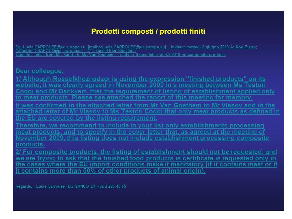 Prodotti composti / prodotti finiti Da: Lucie.CARROUEE@ec.europa.eu [mailto:Lucie.CARROUEE@ec.europa.eu] Inviato: martedì 8 giugno 2010 A: Noè Pietro; Catherine.CHAPOUX@ec.europa.eu Cc: Facelli Pier Giuseppe Oggetto: Letter from Mr.