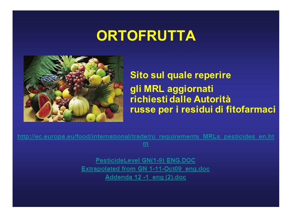 ORTOFRUTTA Sito sul quale reperire gli MRL aggiornati richiesti dalle Autorità russe per i residui di fitofarmaci http://ec.europa.eu/food/international/trade/ru_requirements_MRLs_pesticides_en.ht m PesticideLevel GN(1-9) ENG.DOC Extrapolated from GN 1-11-Oct09_eng.doc Addenda 12 -1_eng (2).doc