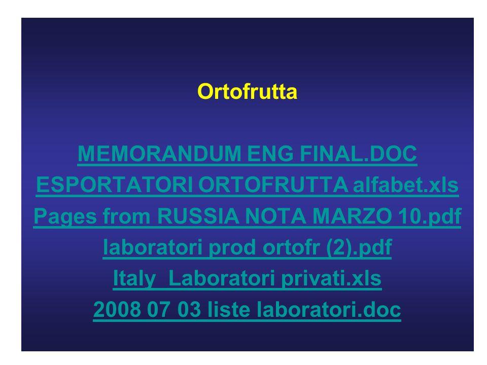 Ortofrutta MEMORANDUM ENG FINAL.DOC ESPORTATORI ORTOFRUTTA alfabet.xls Pages from RUSSIA NOTA MARZO 10.pdf laboratori prod ortofr (2).pdf Italy Laboratori privati.xls 2008 07 03 liste laboratori.doc