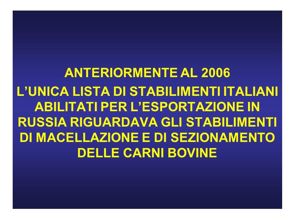 ANTERIORMENTE AL 2006 LUNICA LISTA DI STABILIMENTI ITALIANI ABILITATI PER LESPORTAZIONE IN RUSSIA RIGUARDAVA GLI STABILIMENTI DI MACELLAZIONE E DI SEZIONAMENTO DELLE CARNI BOVINE