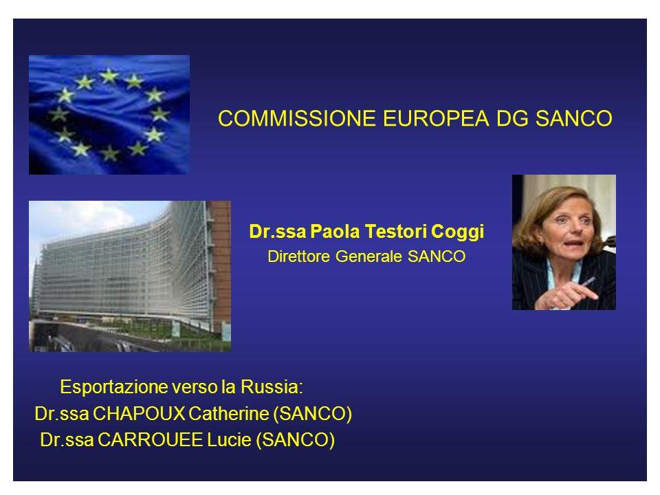 COMMISSIONE EUROPEA DG SANCO Dr.ssa Paola Testori Coggi Direttore Generale SANCO Esportazione verso la Russia: Dr.ssa CHAPOUX Catherine (SANCO) Dr.ssa CARROUEE Lucie (SANCO)
