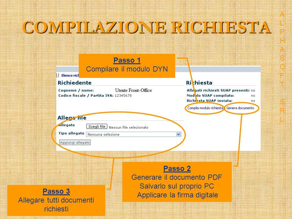 COMPILAZIONE RICHIESTA Passo 1 Compilare il modulo DYN Passo 2 Generare il documento PDF Salvarlo sul proprio PC Applicare la firma digitale Passo 3 Allegare tutti documenti richiesti ALPHASOFT SRLALPHASOFT SRL
