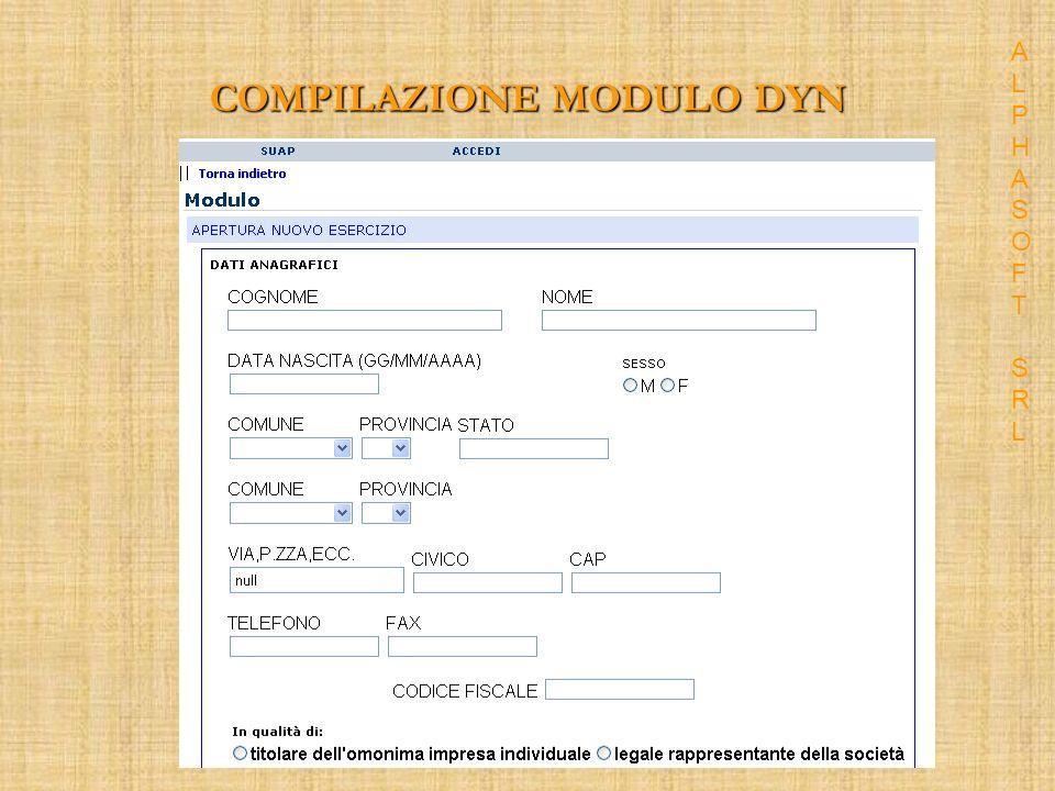 COMPILAZIONE MODULO DYN ALPHASOFT SRLALPHASOFT SRL