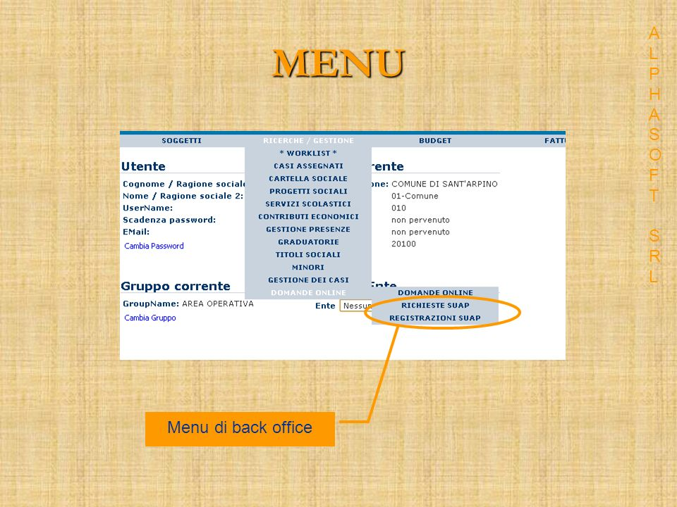 MENU Menu di back office ALPHASOFT SRLALPHASOFT SRL
