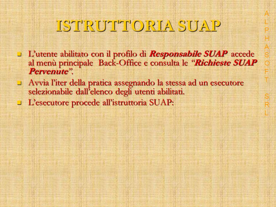 ISTRUTTORIA SUAP Lutente abilitato con il profilo di Responsabile SUAP accede al menù principale Back-Office e consulta le Richieste SUAP Pervenute.