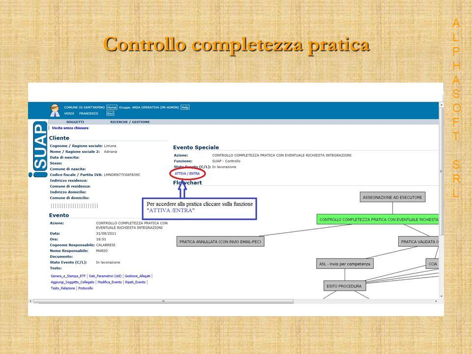 Controllo completezza pratica ALPHASOFT SRLALPHASOFT SRL