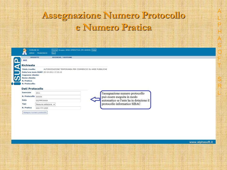 Assegnazione Numero Protocollo e Numero Pratica ALPHASOFT SRLALPHASOFT SRL