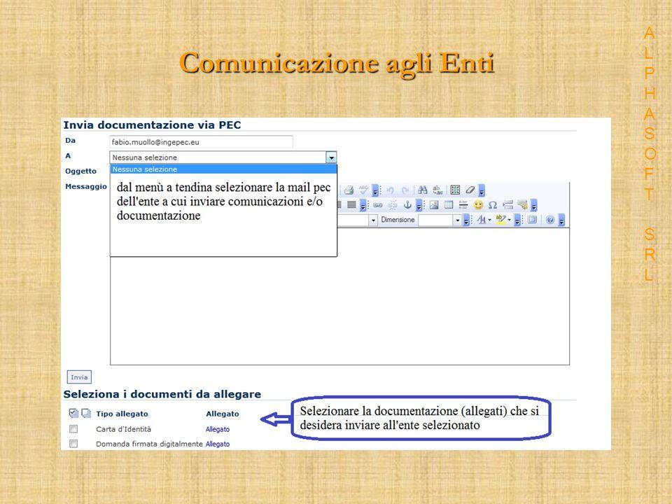 Comunicazione agli Enti ALPHASOFT SRLALPHASOFT SRL