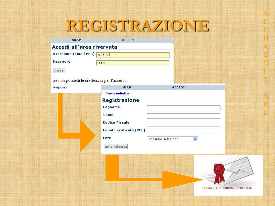 AUTENTICAZIONE La password viene fornita mediante PEC (automatica) dopo la convalida da parte delloperatore di back- office ALPHASOFT SRLALPHASOFT SRL