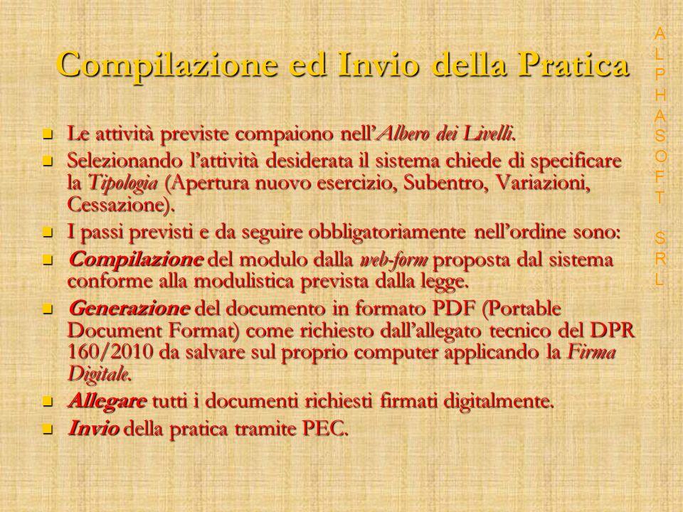 Compilazione ed Invio della Pratica Le attività previste compaiono nellAlbero dei Livelli.