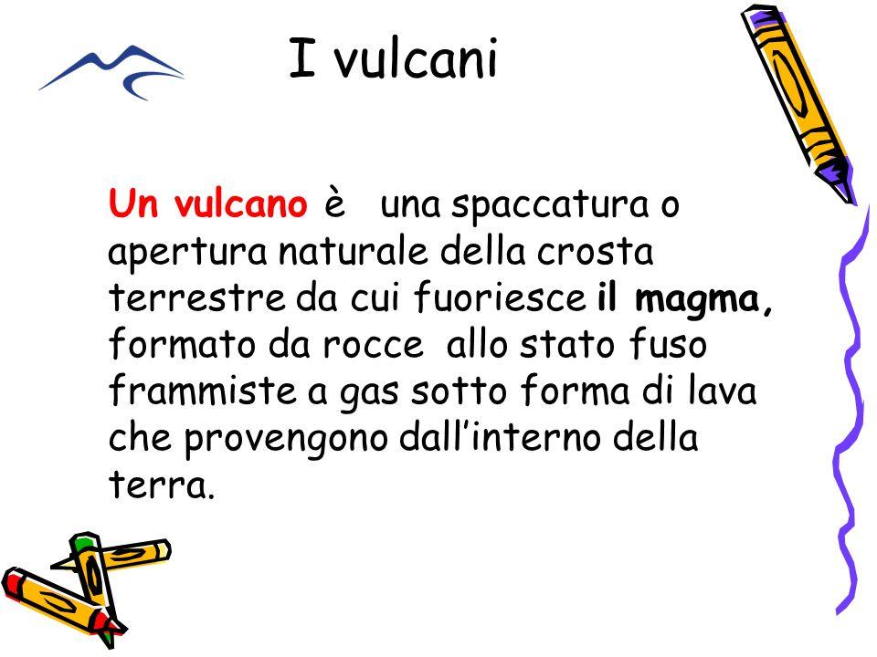 I vulcani Un vulcano è una spaccatura o apertura naturale della crosta terrestre da cui fuoriesce il magma, formato da rocce allo stato fuso frammiste