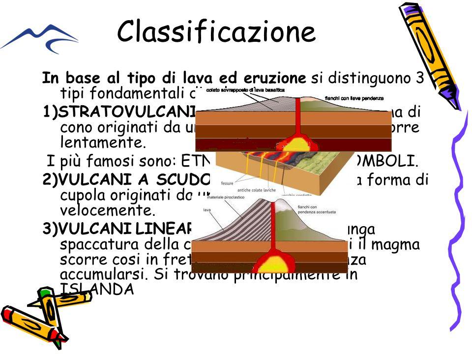 Classificazione In base al tipo di lava ed eruzione si distinguono 3 tipi fondamentali di vulcani : 1)STRATOVULCANI, vulcani alti e ripidi a forma di