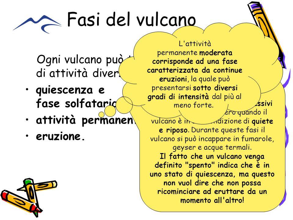 Fasi del vulcano Ogni vulcano può trovarsi in quattro fasi di attività diversa: quiescenza e fase solfatarica, attività permanente moderata, eruzione.