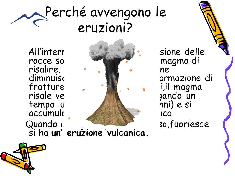 Perché avvengono le eruzioni? Allinterno del mantello, la pressione delle rocce sovrastanti impedisce al magma di risalire. Quando questa pressione di