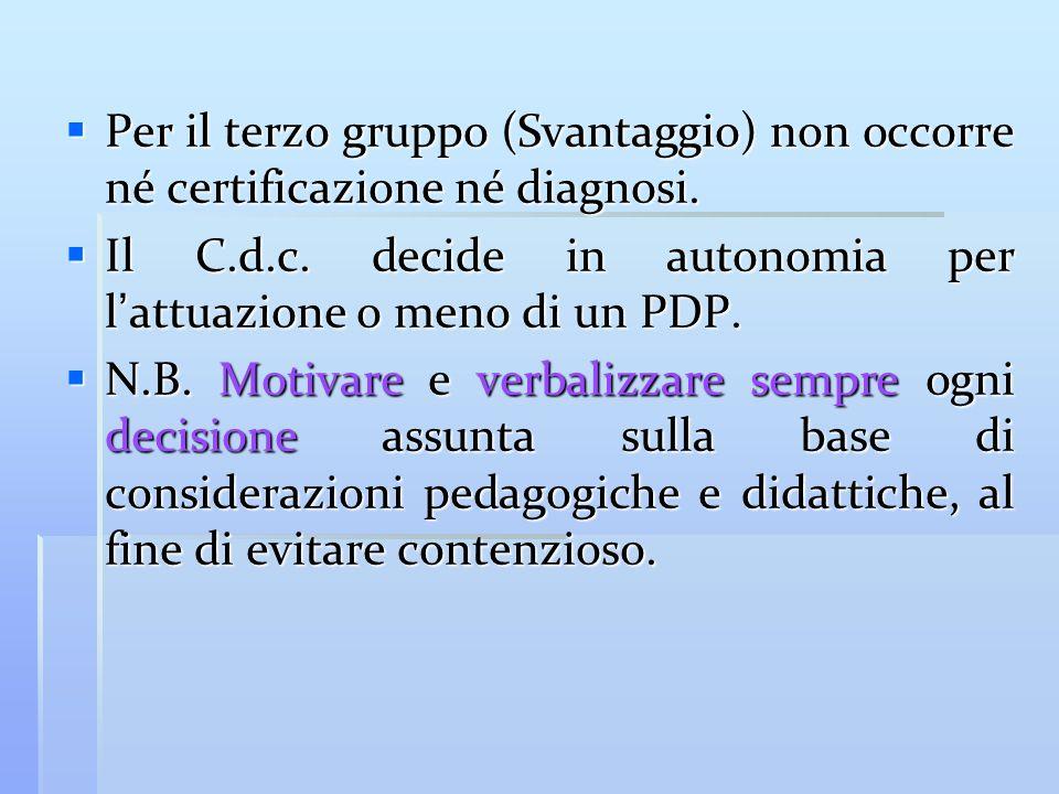 Per il terzo gruppo (Svantaggio) non occorre né certificazione né diagnosi. Per il terzo gruppo (Svantaggio) non occorre né certificazione né diagnosi