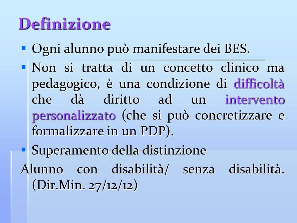 Definizione Ogni alunno può manifestare dei BES. Ogni alunno può manifestare dei BES. Non si tratta di un concetto clinico ma pedagogico, è una condiz