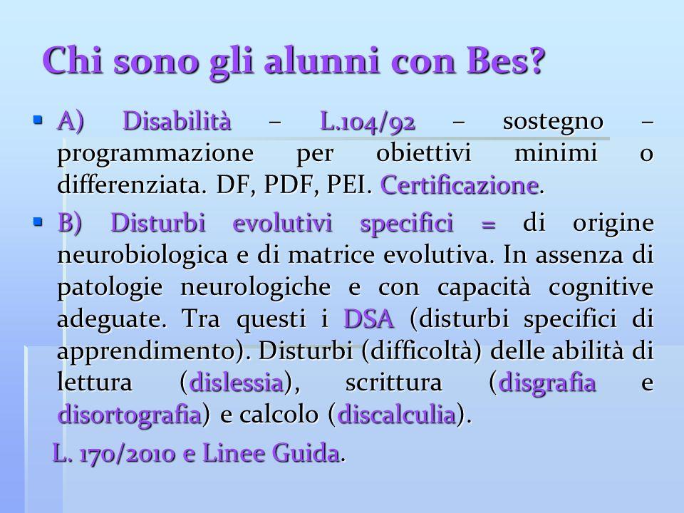 Chi sono gli alunni con Bes? A) Disabilità – L.104/92 – sostegno – programmazione per obiettivi minimi o differenziata. DF, PDF, PEI. Certificazione.