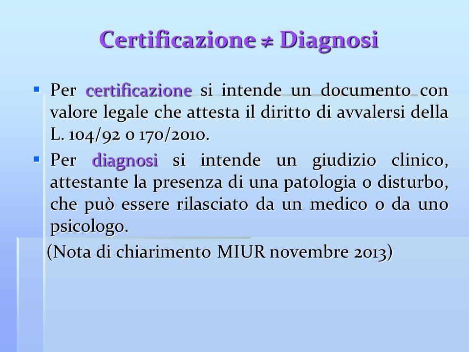 Certificazione Diagnosi Per certificazione si intende un documento con valore legale che attesta il diritto di avvalersi della L. 104/92 o 170/2010. P