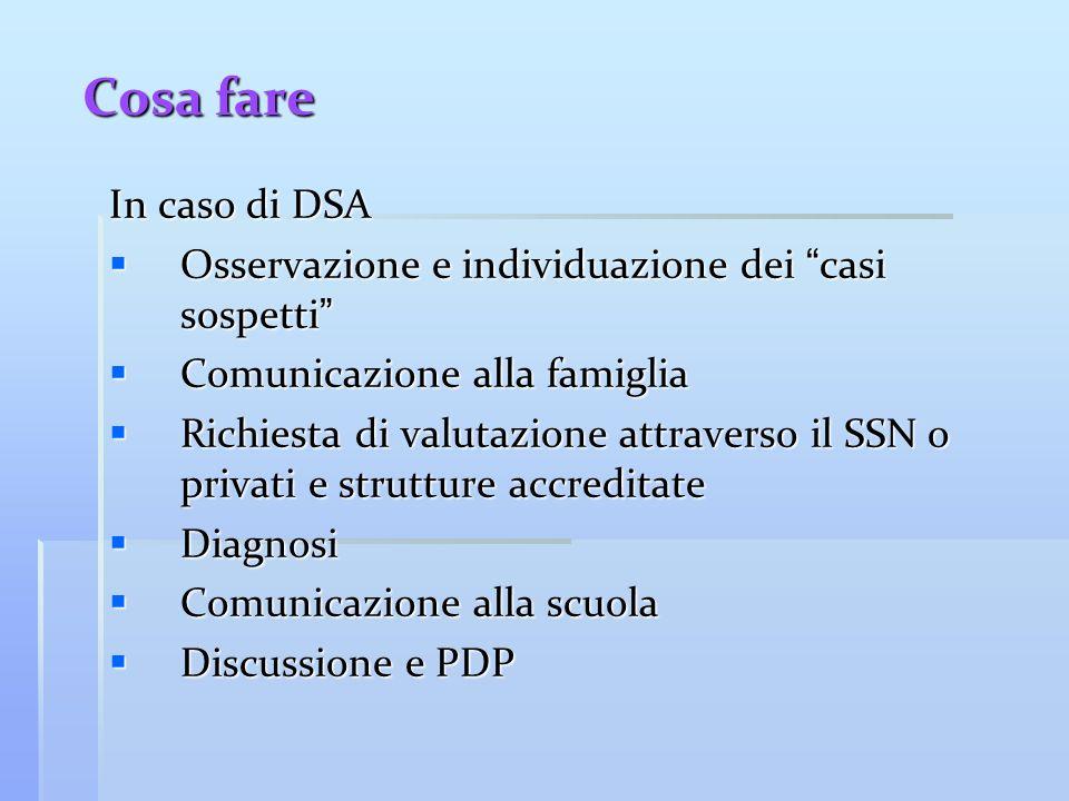 Cosa fare In caso di DSA Osservazione e individuazione dei casi sospetti Osservazione e individuazione dei casi sospetti Comunicazione alla famiglia C