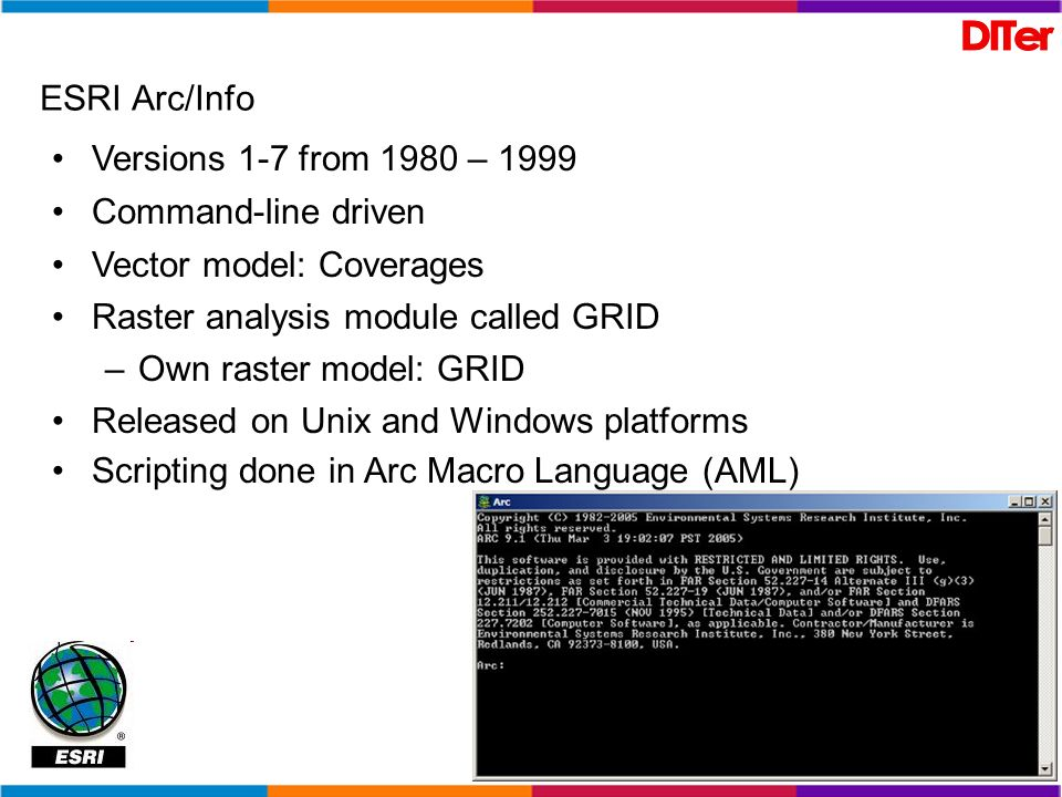 ESRI Arc/Info Versions 1-7 from 1980 – 1999 Command-line driven Vector model: Coverages Raster analysis module called GRID –Own raster model: GRID Rel