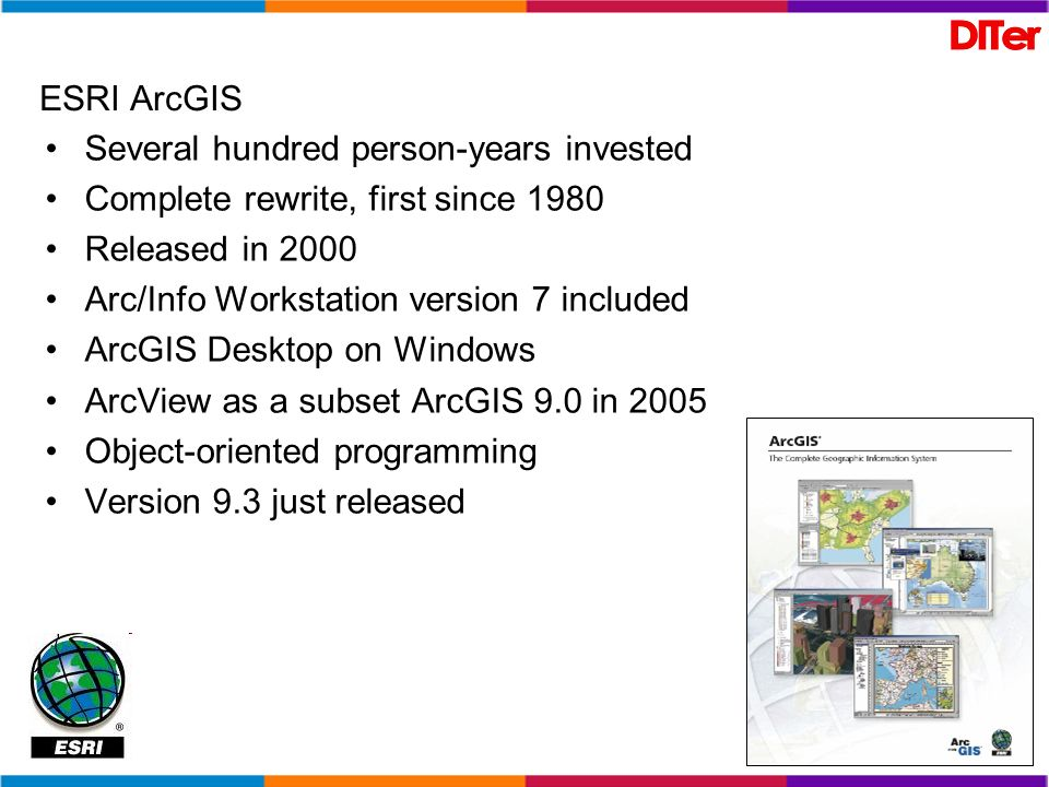 ESRI ArcGIS Several hundred person-years invested Complete rewrite, first since 1980 Released in 2000 Arc/Info Workstation version 7 included ArcGIS D