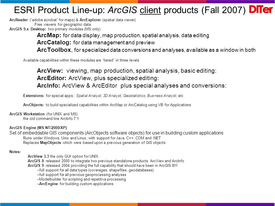 ESRI Product Line-up: ArcGIS client products (Fall 2007) ArcReader (adobe acrobat for maps) & ArcExplorer (spatial data viewer) Free viewers for geogr