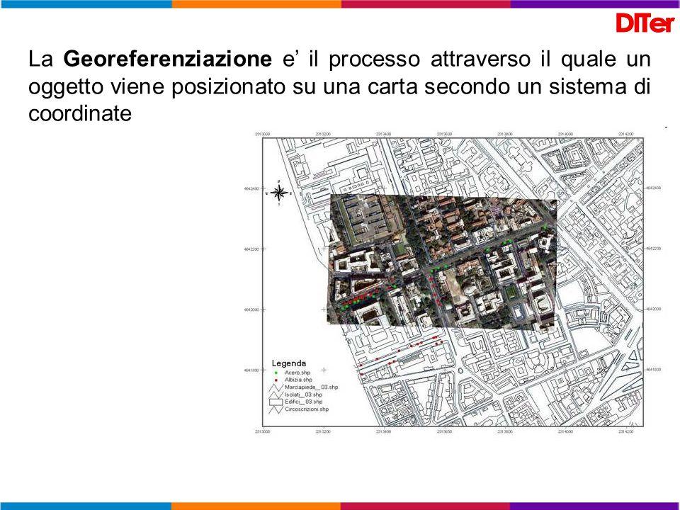 La Georeferenziazione e il processo attraverso il quale un oggetto viene posizionato su una carta secondo un sistema di coordinate