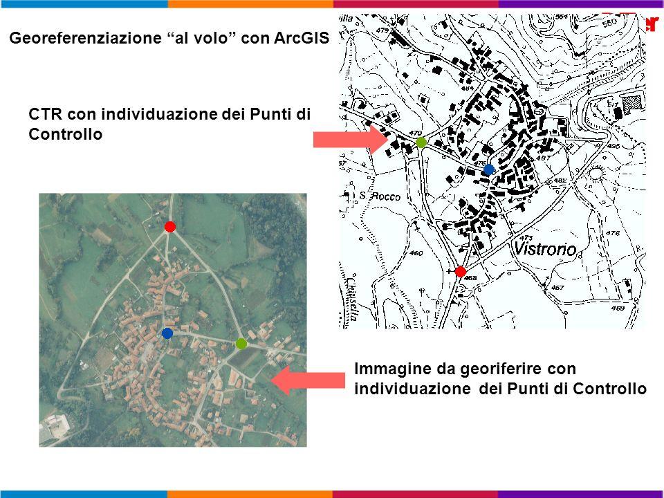 CTR con individuazione dei Punti di Controllo Immagine da georiferire con individuazione dei Punti di Controllo Georeferenziazione al volo con ArcGIS