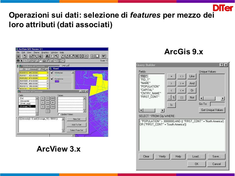 Operazioni sui dati: selezione di features per mezzo dei loro attributi (dati associati) ArcView 3.x ArcGis 9.x
